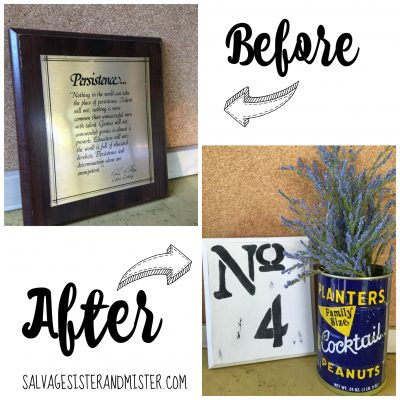 A thrift store challenge with 15 bloggers. We are taking one persons donation and turning it into a treasure. Here I took a basic old plaque and turned it into a farmhouse numbered plaque for a wall gallery. This Diy project was done with materials on hand and for less than a dollar. Cant beat a craft like that.