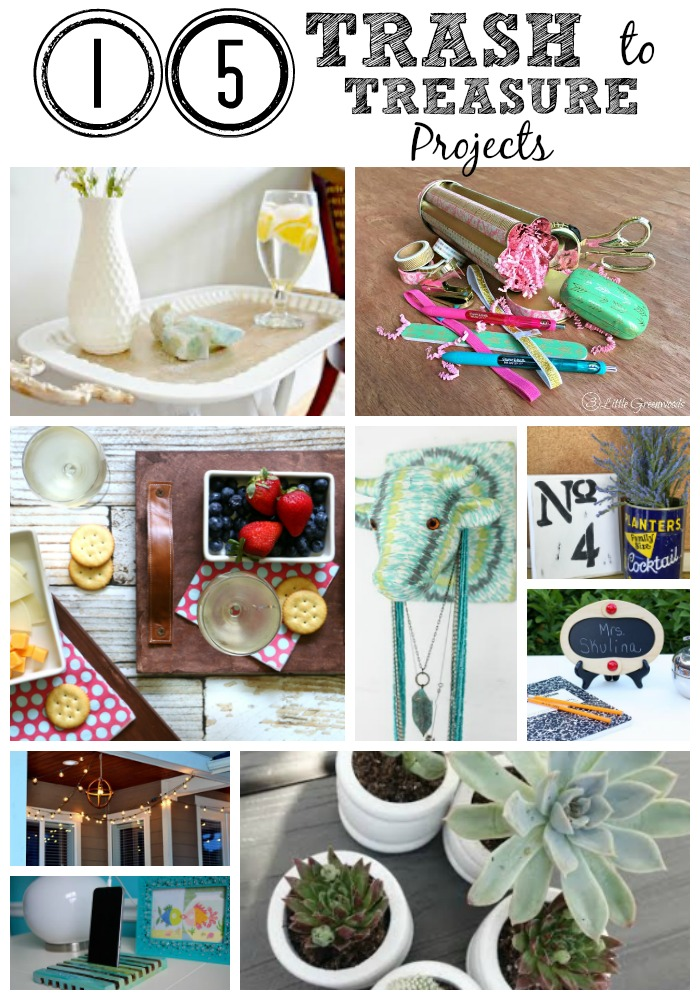 """15 bloggers exchanged thrift store items. Come and see how we took these bargain items and turned them into treasures. It's true what they say, one person't junk is another persons treasure. Be inspired be all these great projects and create something """"new"""" today. Included teacher gifts, farmhouse decor, jewelery organization, planters, outdoor lighting, home decor and more."""