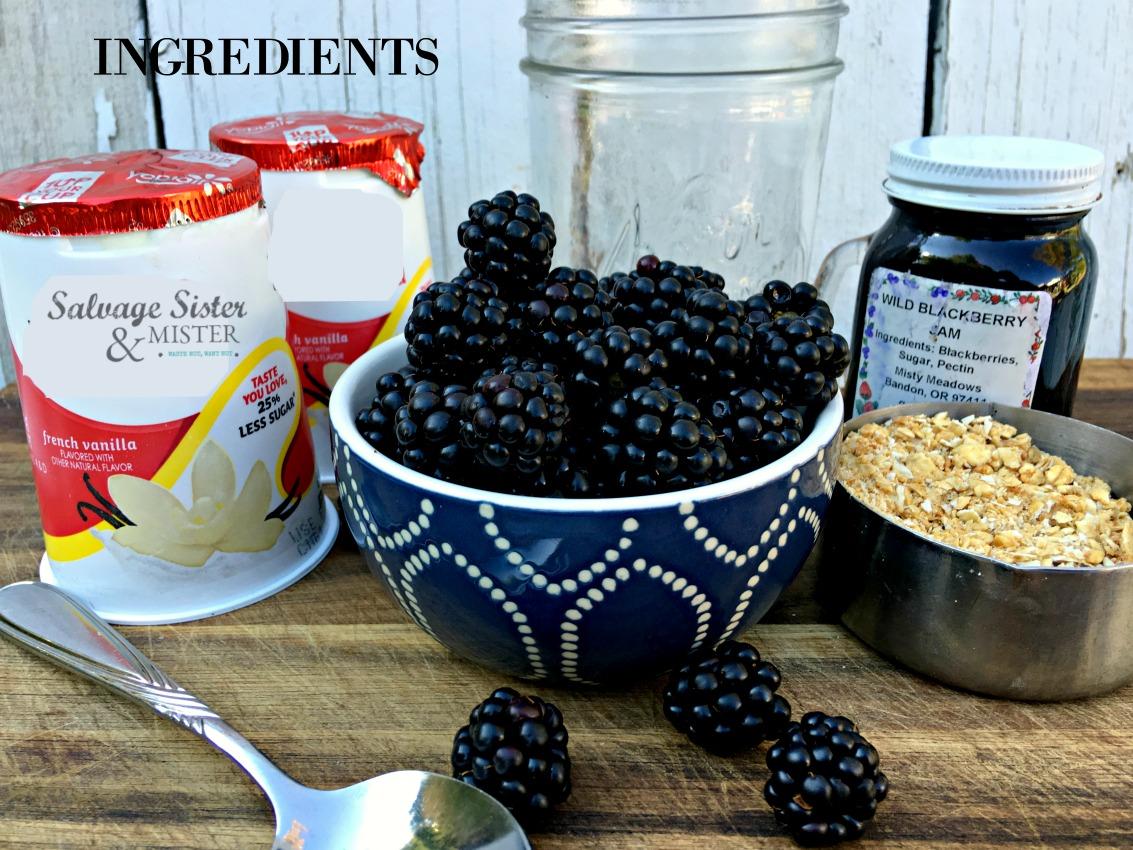 quick and easy breakfast recipe - blackberry parfait on salvagesisterandmister.com
