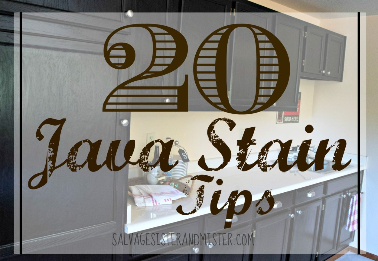 java gel stain is a wonderful way to update old cabinets. After using this product several times, here are 20 tips for this DIY project.