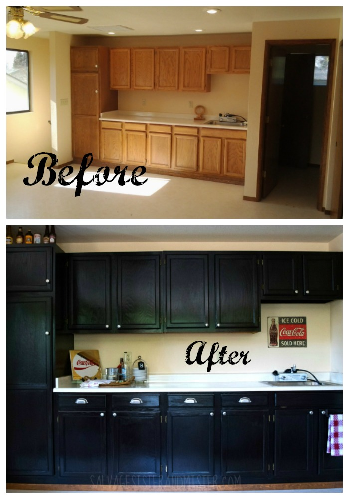 Before and after using java stain. This DIY project sure is an inexpesive way to update outdated cabinets. We have used this product several times and have 20 java gel stain tips to help you with your next project.