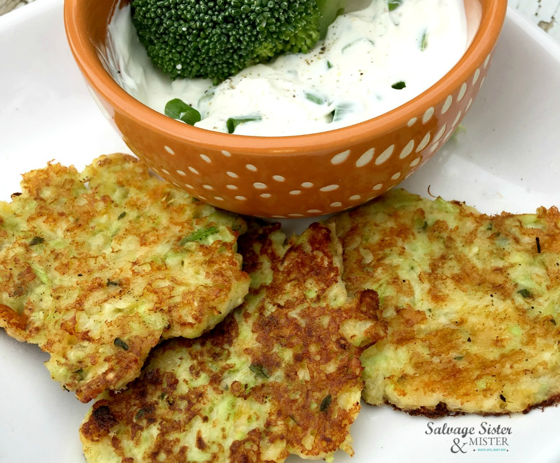 broccoli and cheese fritters with creamy hern dipping sauce on salvagesisterandmister.com recipe