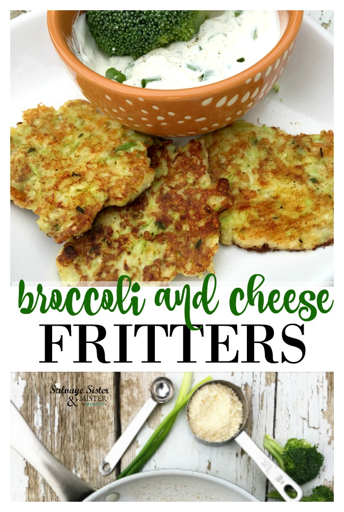 Using the stem of the broccoli to make these tasty broccoli and cheese fritters with a creamy herb dipping sauce.  Waste not, want not recipe.  Bonus tip to make your own breadcrumbs too. Find this appetizer and or party food on just anytime treat at salvagesisterandmister.com