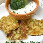 Broccoli and cheese fritters with a creamy herb dipping sauce is a great appetizer or side dish using a part of the broccoli most throw away, the stem. Put it to good use in this tasty and simple recipe.