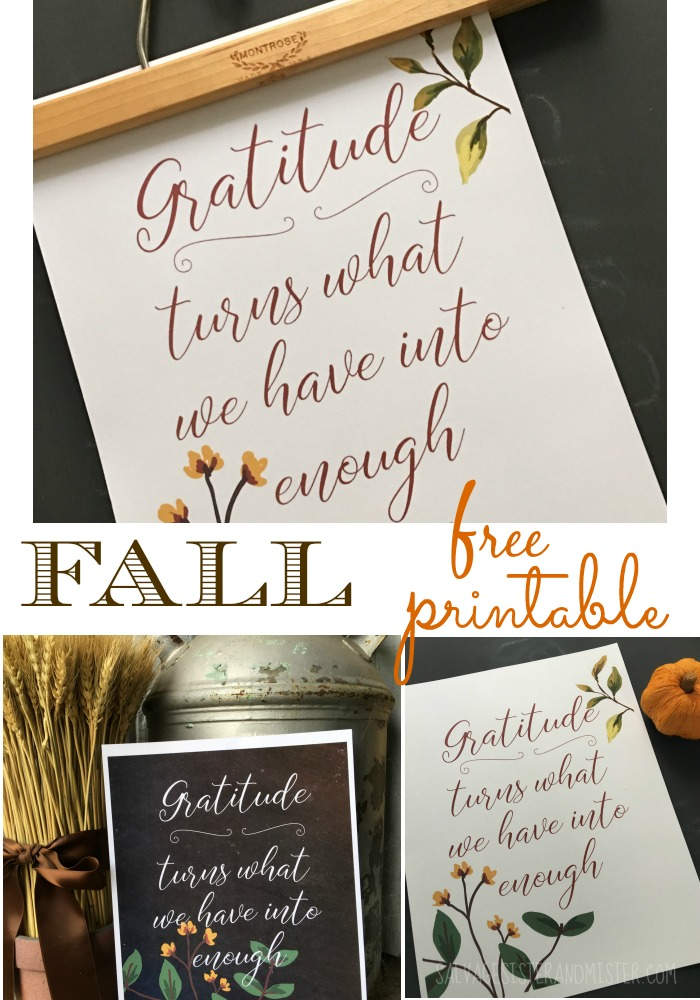 Free gratitude printable over on the blog. Gratitude turns what you have into enough. Inexpenisve Thanksgiving or fall home decor. Add a thrifted wood pant hanger or clothes pins to hang it up. Or you can use a thrifted frame.