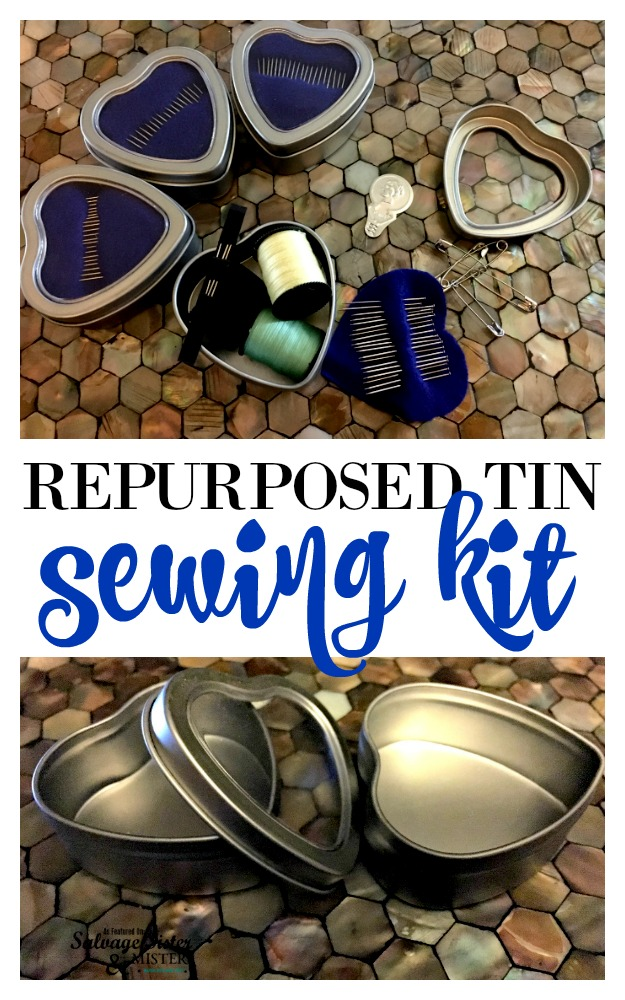 Repurposed tin sewing kit is great to be prepared for the purse, car, or work drawer, Also great to give as a gift. Fun to make as a group.  Find this diy tutorail to reuse those candy tins to wedding favors on salvagesistereandmister.com