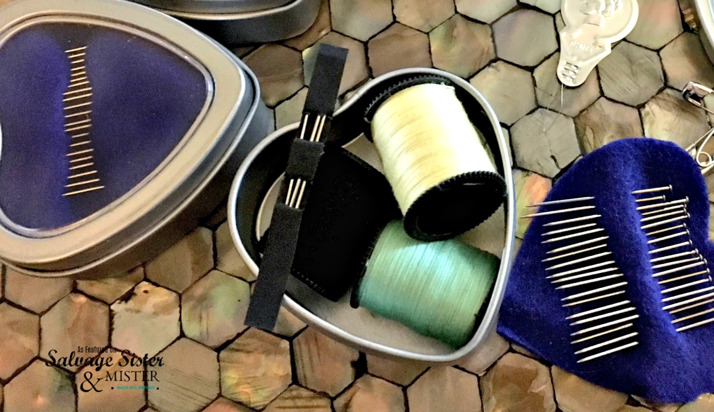 repurposed tin sewing kit - perfect for car, purse, or work drawer on salvageisterandmister.com