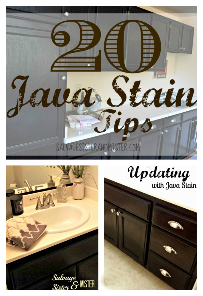 20 Java Gel stains - Using General Finishes Java Stain for the first time?  Here are our 20 tips after using this easy to apply stain.  Inexpensive home improvement DIY project, Find info on salvagesisterandmister.com