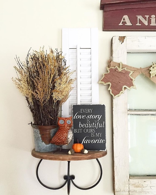 A beautiful fall vignette suing items from around the home, bargain decor, and nature can make holiday decorating easy and inexpensive. You don't have to spend a lot fo money to have a beautiful home.