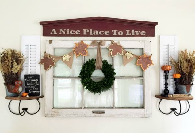 Don't have a fireplace mantel? You can create the look with an old window and some inexpensive decor items. This fall vignette is a great way to decorate your home while not spending a ton of money. Budget Decorating