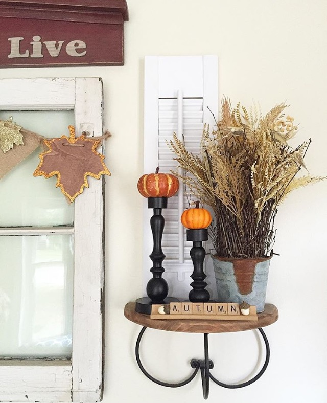 Fall shelves. A simple and easy home decor fall vignette using dollar spot items, what you have, and nature. Home decor made easy. This beautiful vignette is from my.purposed.place