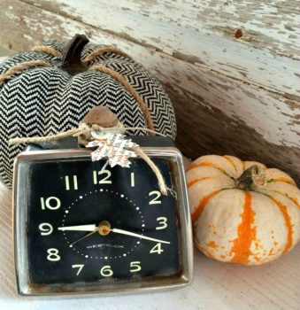 Turning a vintage clock into a pumpkin. Come take a look at all the repurposed pumpkins. They are a great way to use what you have . Decorate your home on a budget. Holiday decor doesn't have to break the bank. Fall, Upcycle, Reuse