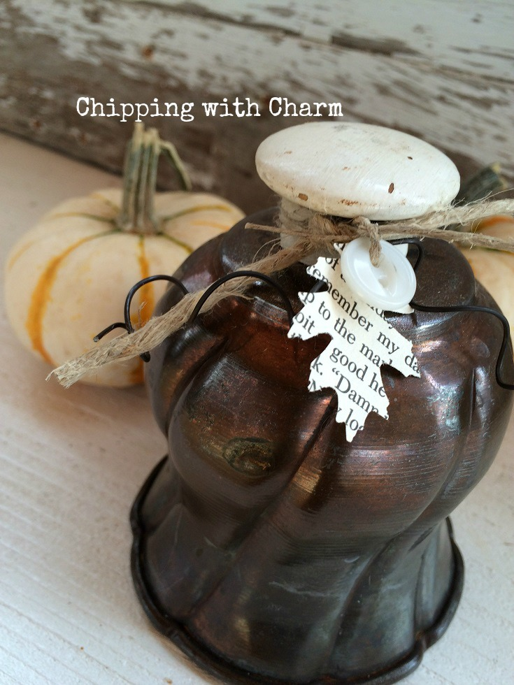 Turn something over and add a knob on top and you have a repurposed pumpkin. Great for a vintage or farmhouse home. But you can turn whatever you have into a pumpkin. DIY, upcycle, home decor