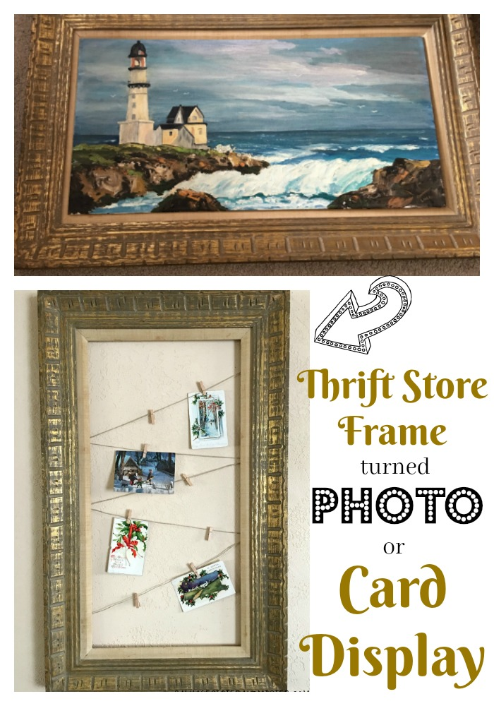Photo or Card Display from Thrifted Picture. This Diy Project couldn't be easier and its a great way to reuse a frame you already have. Great for displaying vintage post cards, photos, or a Christmas card display. Would also be fun for an advent calendar.