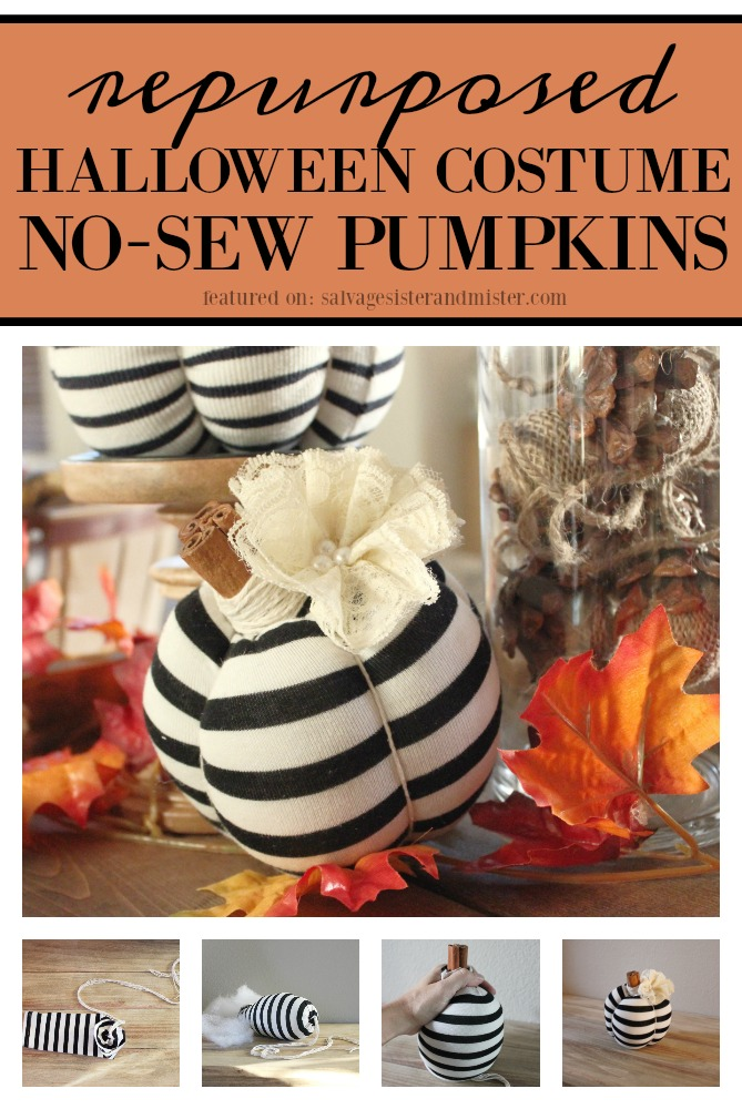 Turning last years Halloween costumes into this years fall decor all while preserving memories.  This is a great no sew pumpkin craft that is perfect for reusing items that might otherwise get tossed.  This easy craft is great for your simple fall home decor.  Get the full tutorial on salvagesisterandmister.com featured