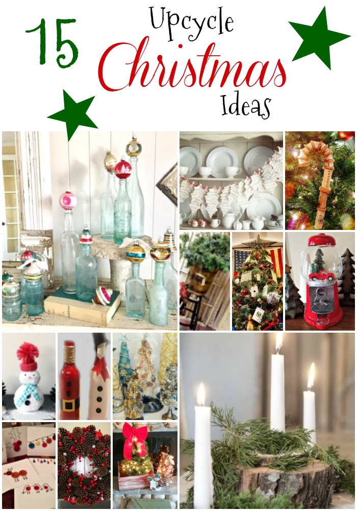 15 upcycle Christmas ideas to inspire you to make the most with what you have. Simple ideas to decorate on a budget, use less, waste less, and enjoy your holidays. Make sure crafts using leftover socks, found pine cones, corks, toys, wood slices, and more. Waste not, want not. Christmas doesn't have too cost a lot of take up a ton of space.