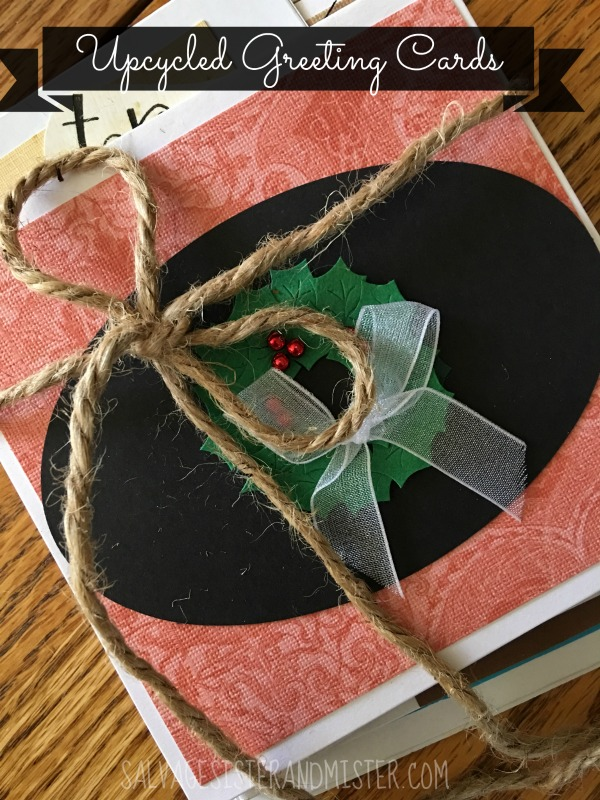 Turn your own scraps into your own greeting cards. Not only is this a great way to reuse or upcycle materials but it's a real cost saver. An average person purchases 55 cards a year at $3 each that can really add up. Make your own for a personal touch.