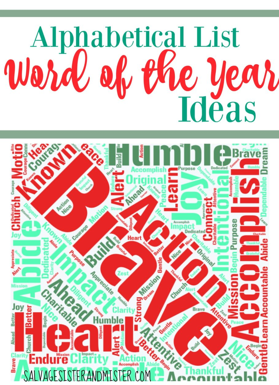 An alphabetical listof word ideas for word of the year. Choosing a word of the year is a great New Years resolution alternative. it's simple, positive, and intentional. Purposeful living. Brave, Trust, Strong, Love, Kindness, ETC