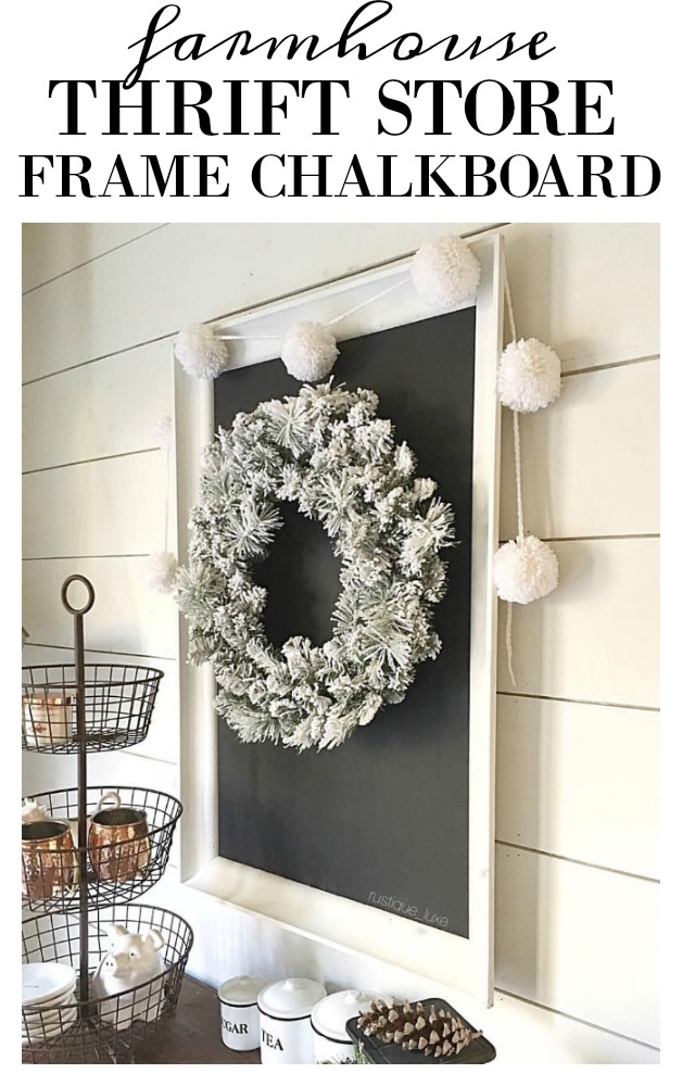 Turn a thrift store frame into a farmhouse chalkboard. This DIY tutorial gives you all the info you need to make any size you like. Trift store transformation. Fun home decor piece and you can paint it different colors to match your style. Get all the details of this feature on salvagesisterandmister.com