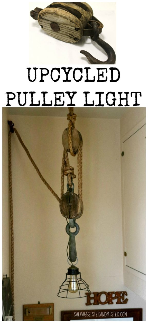 Thrift store challenge - We upcycled this pulley or block and tacle into a light. This DIY project was inexpensive and fits our rustic, industrial, farmhouse home. Interior decor doesn't have to be expensive. This pulley light is just our style. Come see what other bloggers did with their thrift store items.