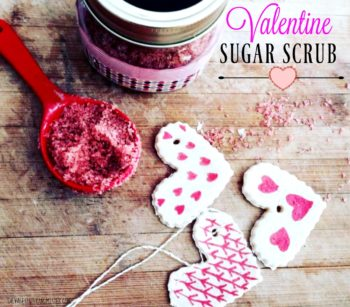 Thi seasy sugar scrub is a great gift to give on valentines day and it is perfect t reuse extra mason jars and scrapbook paper scraps. Waste not want not. You can DIY this craft with items you have around the home. Great for kids to make.