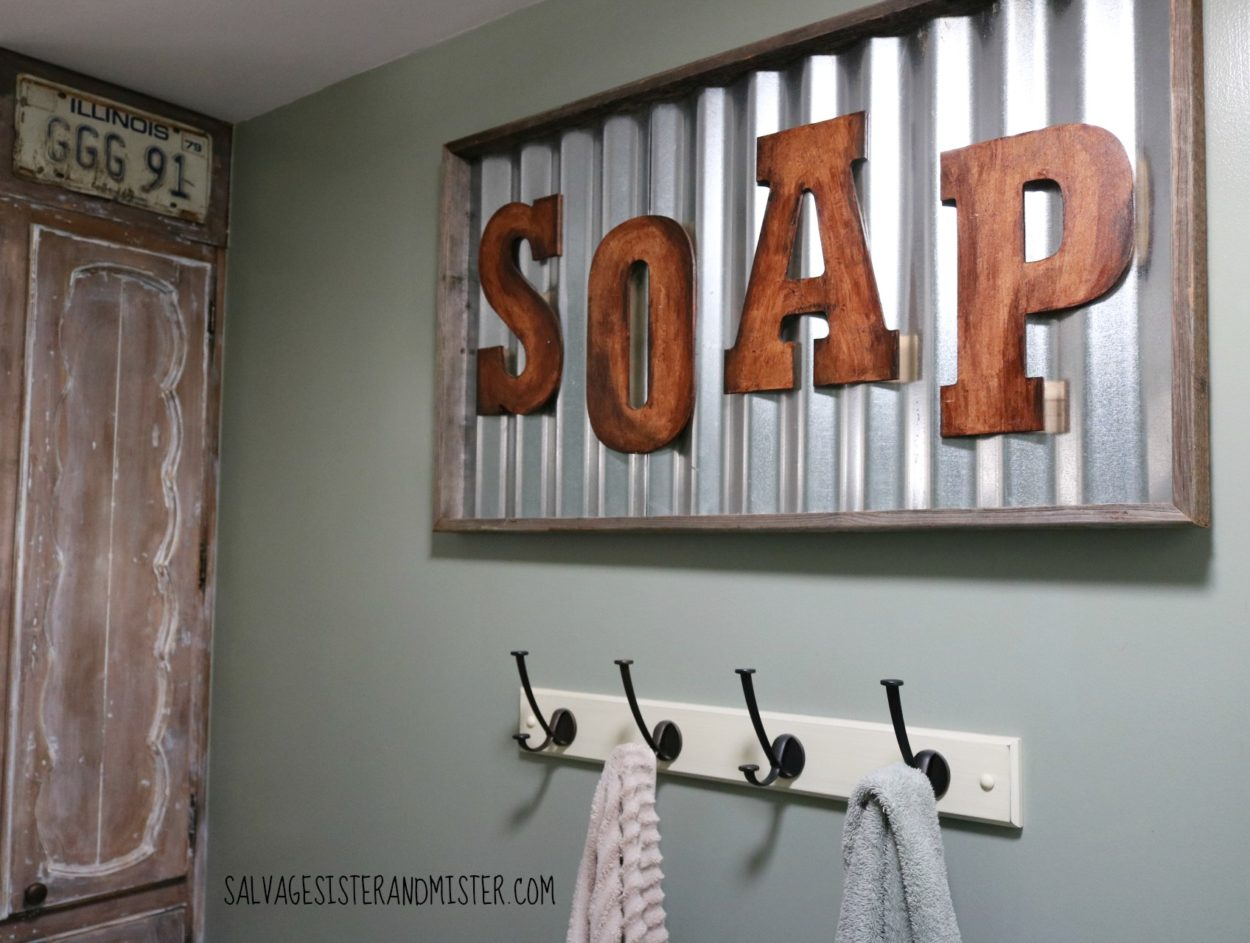 soap sign for a low cost rustic bathroom makeover.