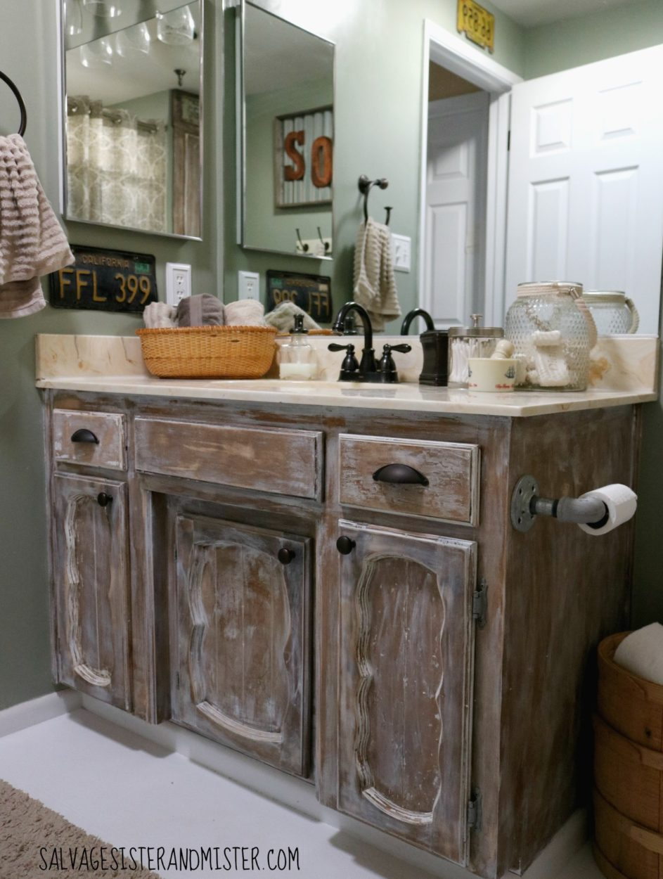 This DIY bathroom makeover was done on just over $100. Rustic bathroom using a lot of what we already had (reuse). Remodeling can be expensive but you can also do a budget makeover to give a whole new look on a budget.