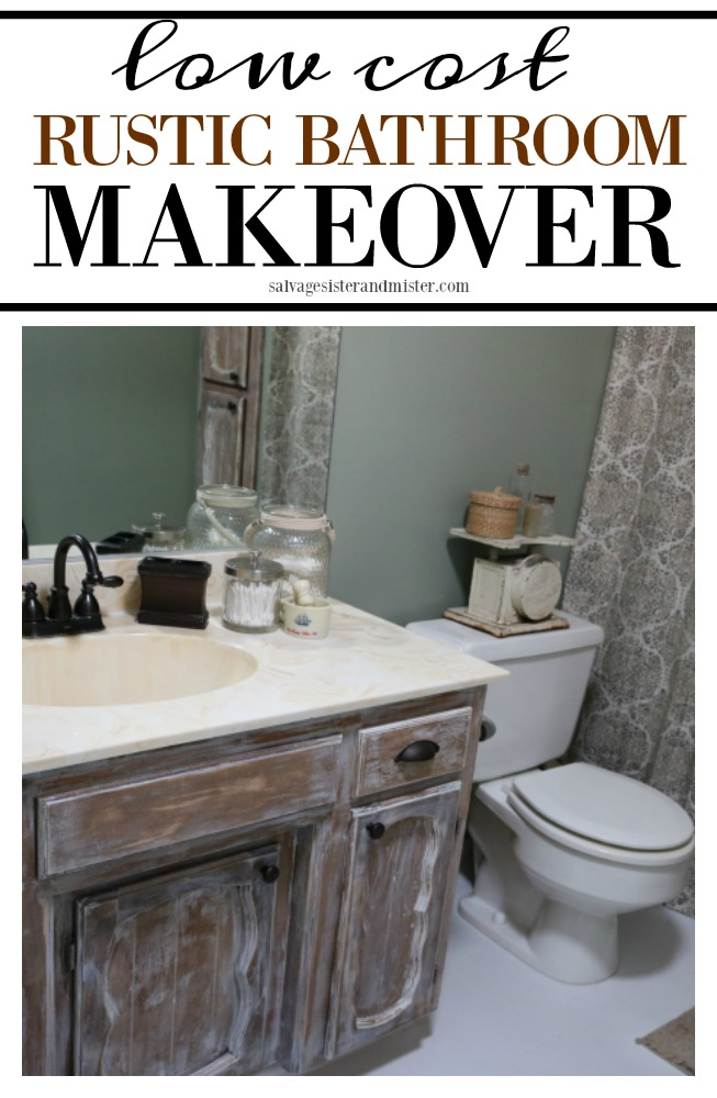 Creting a low cost rustic bathroom makeover for just over $100.  Find the DIY projects we did to keep a low budget.  When remodeling isn't in the budget you can get a new look for less instead.  Painting floors and working with the cabinet we had reduced costs greatly. Get the details on this home improvement project on salvagesisterandmister.com