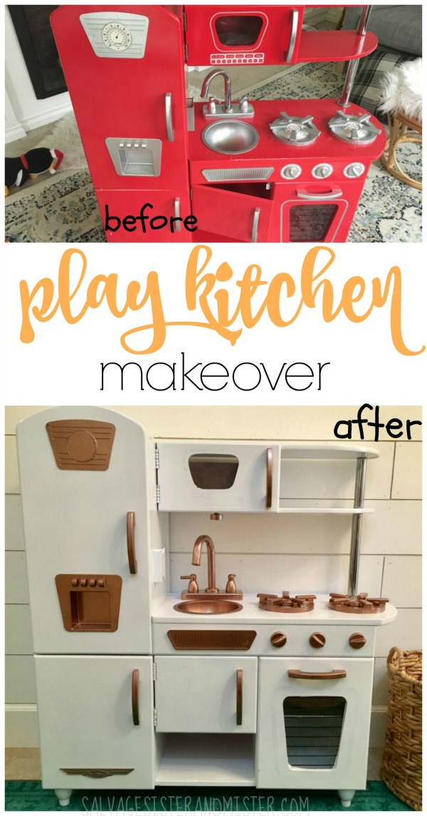 Turnign a used children's play kitchen into a more modern feel that matches your own kitchen.  This easy DIY project helps turn the old into something new again.  Cheaper than purchasing new.  Great to revamp a yard sale or thrift store find.  Check out this project that is featured at salvagesisterandmister.com