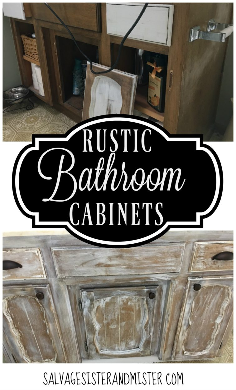 When you can't afford to remodel your bathroom, you do a $100 room challenge and see what you can come up with. We changed our old cabinets to rustic bathroom cabinets by sanding, painting, scraping, and abusing them. Come see this rustic farmhouse feel bathroom makeover on a budget. This DIY project only required the purchase of new handles. Everything else was free.