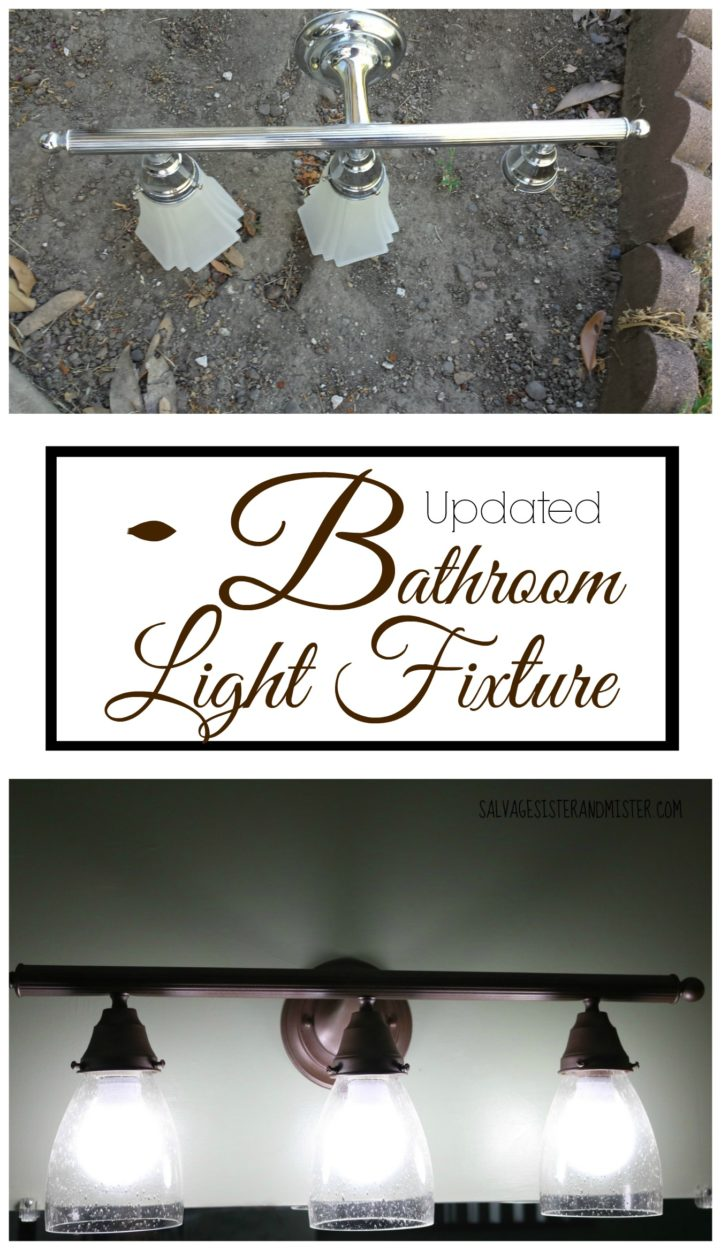 This bargain bathroom light fixture got a makeover. This easy DIY project is a great way to update your home with out a lot of expense. Home removations don't have to cost a lot to make a big difference. We are doign a $100 challege for our bathroom. Reuse an old fixture and make it new again.