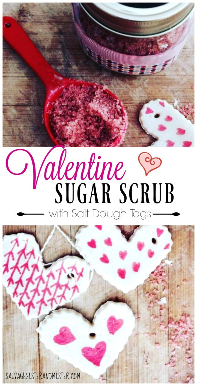 What do you do when you have an old mason jar and some extra supplies? You make this beautiful valentine sugar scrub with salt dough tags. This is a great DIY project to do with kids. What a beautiful gift for mom or a friend. Most of the ingredients you already have on hand makes this craft budget friendly.