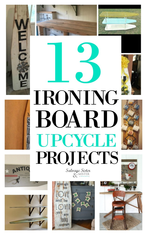 Here are 13 ways to reuse vintage or new ironing boards.  These upcycle projects show how to DIY your own shelves, coffee mug rack, desk, message center, signs, and more. Get the details for these projects by visiting salvagesisterandmister.com waste not, want not - budget-friendly home decorating
