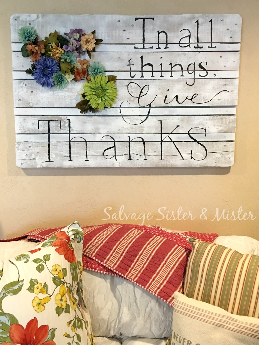 diy pallet art is the easiest pallet art project I have done. In all things give thanks. Great for spring decor. No cost by using all supplies on hand. You can have decor that is inexpensive but yet atractive. Farmhouse or Fixer Upper style.