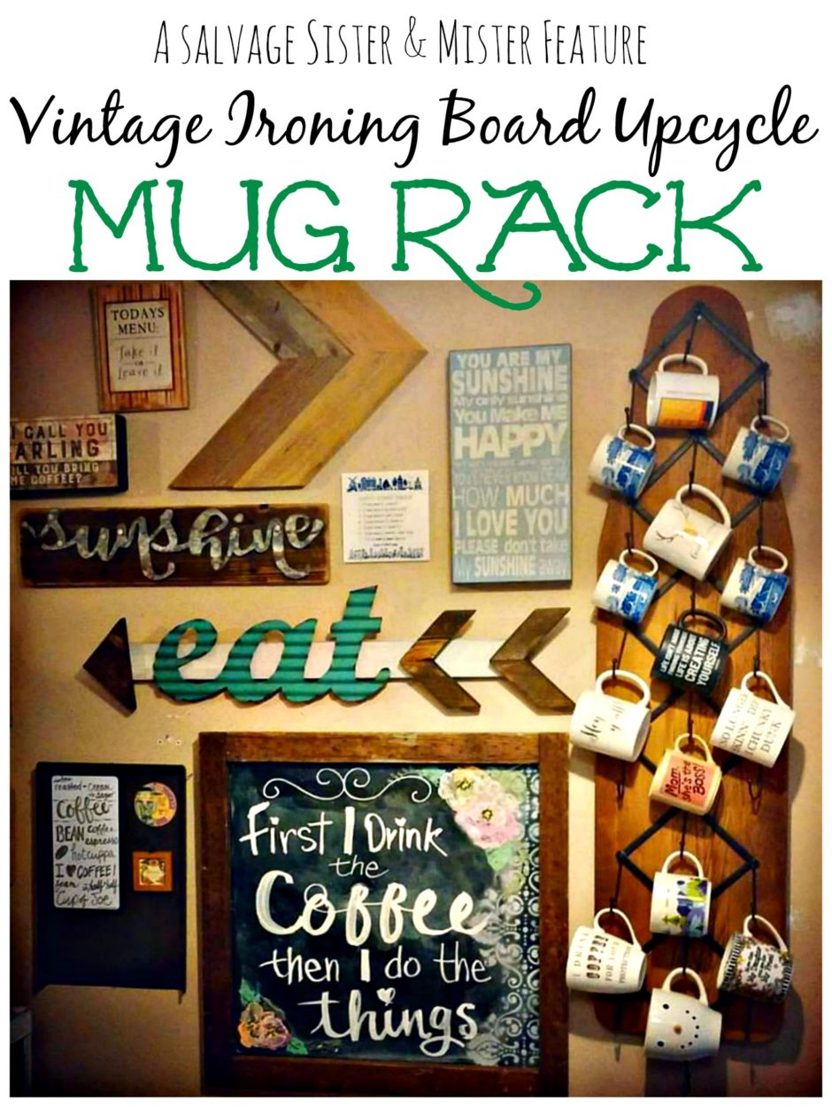 A vintage ironing board filled with rich family history gets a new life as a upcycled mug rack for a coffee station. This is a great repurpose diy project with an iron board from your family or out thrifting. Perfect for a gallery wall.