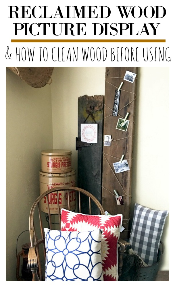 Simple reclaimed wood picture display AND how to clean salvaged wood prior to using in your home to reduce chances of mold and pests.  Also included information on where to find reclaimed wood.  Get the details on this simple diy at salvagesisterandmister.com