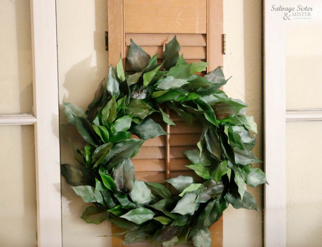 Turning a thrift store ficus plant into a faux magnolia wreath on salvagesisterandmister.com