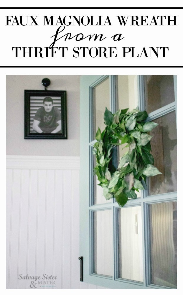 Thrift store transformation - turning an artificial plant into a bargain faux magnolia wreath. This simple craft was so inexpensive and easy to make - Joanna Gaines style (fixer-upper aka Magnolia market style) Get the details on this farmhouse style wreath project on salvagesisterandmister.com