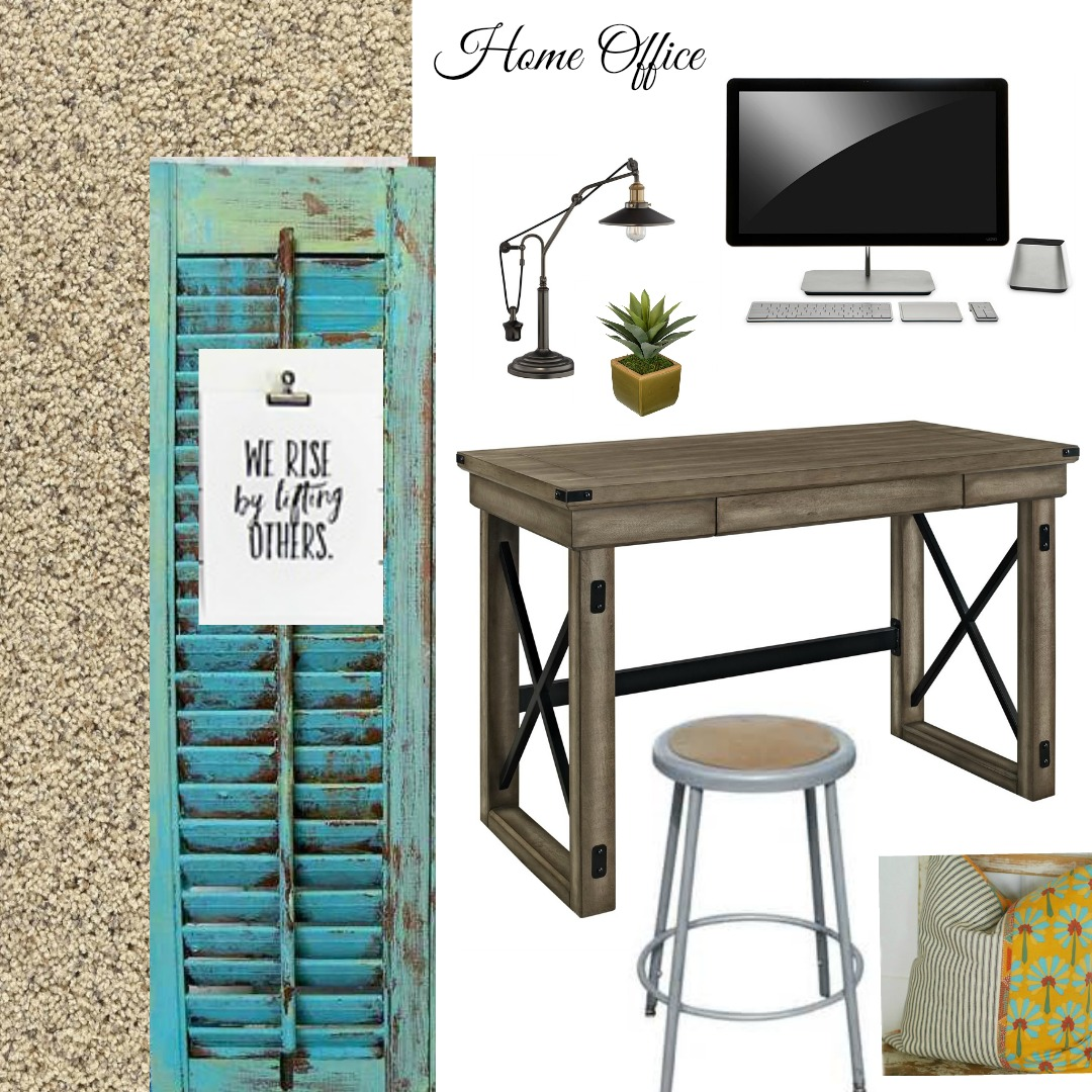 One Room Challenge Design Board - Home Office. This is the inspiration for changing a family rorom into a home office for a blogger. Join this 6 week journey to a budget room makeover filled with DIY and design ideas that are inexpensive.
