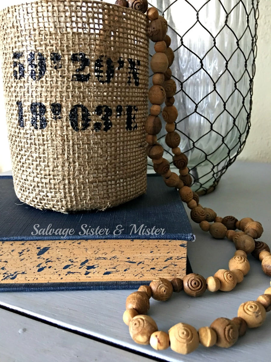A thrifted wood bead necklace can be used for wood bead garland for farmhouse home decor touch. Inexpensive option to use an item in a new way. This Thrifted DIY wood bead garland is perfect for a fixer upper touch to your decor