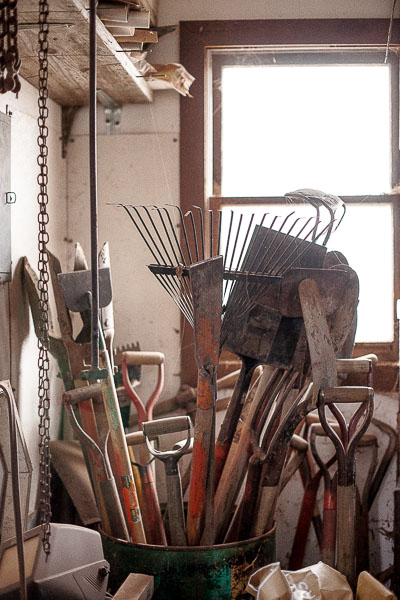 backyard shed and vintage tools.