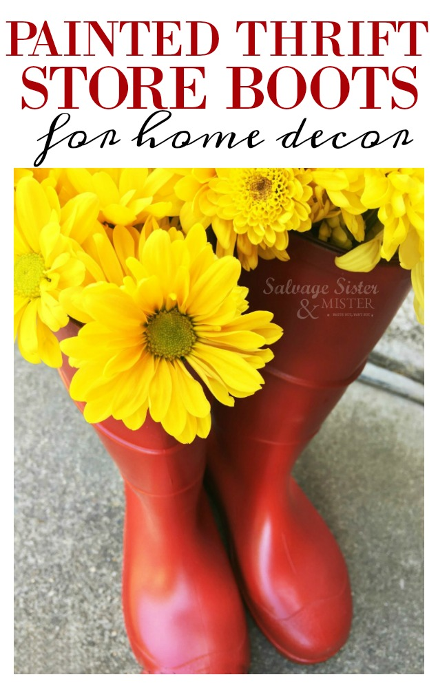 Turn thrift store rain boots into fun home decor (think Hunter boots).  If you want the paint to last, you need to use flexible paint to avoid cracks.  This budget-friendly craft or DIY project is quick and simple and they can be used both indoor and outdoor decor.  We choose the red to go with different seasons.  Find this reuse - repurpose tutorial on salvagesisterandmister.com (waste not, want not)