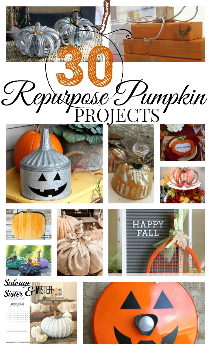 It looks like just about anything can become a pumpkin.  here are 30 repurposed pumpkin projects to create some fal in your home decor using what you have.  These upcycle projects show imagination and creativity but budget-friendly crafts.  Decorate your home inside and out with these cute pumpkin decorations.  Find these diy projects on salvagesisterandmister.com (waste not, want not)