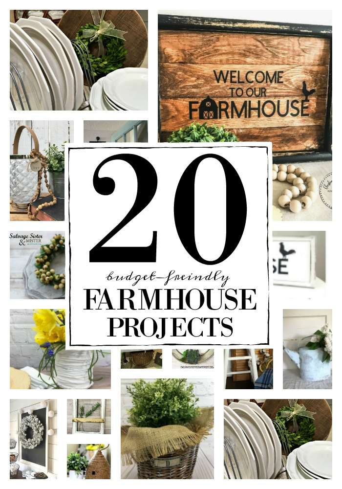 These 20 budget-friendly farmhouse projects were made from thrift store finds, or DIY, or from the recycle. Make do or do without. Waste not, want not. is the original farmhouse style. These craft pojects are perfect for your farmhouse style home decor. Trash to treasure or thrift store transformations make these cheap and cheerful. Get the details on these projects at salvagesisterandmister.com