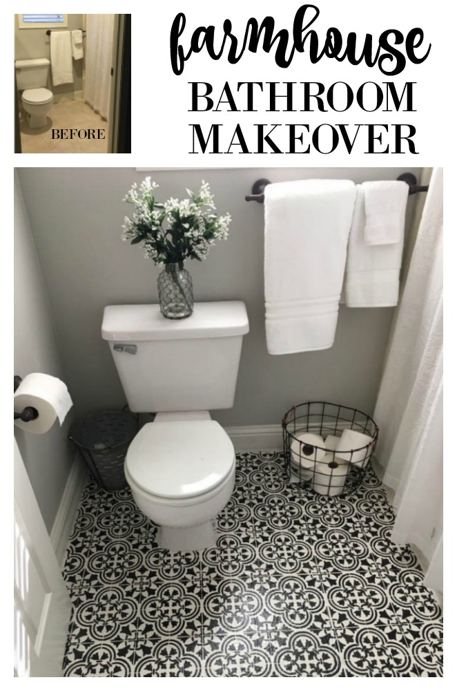 A DIY farmhouse bathroom makeover with some painted floors and a stencil.  This is a budget-friendly home update when you can't remodel or just need a little makeover. Get the info on this tutorial on salvagesisterandmister.com