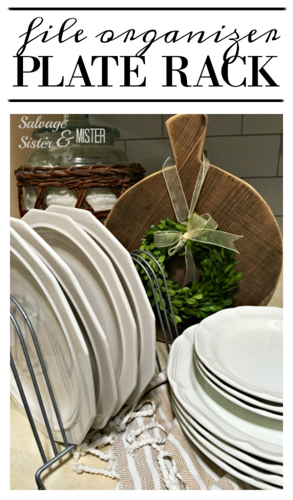 Turning an office file organizer into this farmhouse plate rack..  This budget-friendly alternative is a great way to do home decor on the cheap.  This was a great thrift store transformation and super easy. with very little supplies.  Find this diiy project on salvagesisterandmister.com