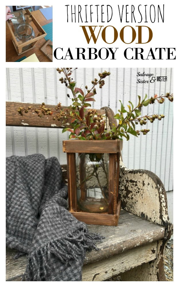 Turning a thrift store find into this thrifted wood carboy crate.  Thrift store transformations.  French demijohn look to it.  Great for farmhouse style.  You can use this home decor piece indoors or outdoors.  Get the details on salvagesisterandmister.com budget-friendly