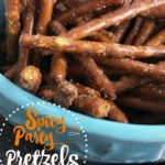 Spicy party pretzels. A fun snack wiht just a little heat. This recipe is great for the holidays, a birthday party, New Years, or to give as a gift. This is part of a 12 days of Christmas blog hop and today is party recipes.