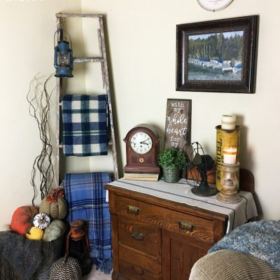 Thrifted blanket ladder. Budget friendly decor. Thrift store finds make for easy and inexpensive decorating options.