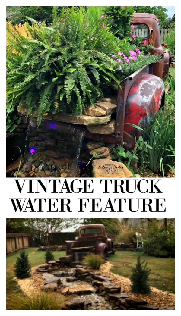 Turning old abandoned truck parts into this super cool vintage truck water feature for the backyard. This waterfall display was made by Jim and Kay Coffey and it is truly a statement piece. The sound of running water plus a backyard cottage makes this backyard landscaping a showstopper. Get the details on what they did, upcycling this truck and other items on salvagesisterandmister.com repurpose project for the yard